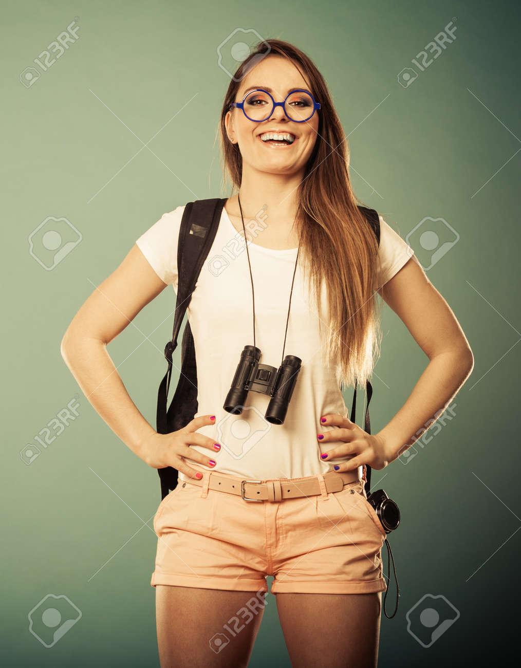 Sommerferien Und Tourismus Konzept Attraktive Frau Lange Haare Mit