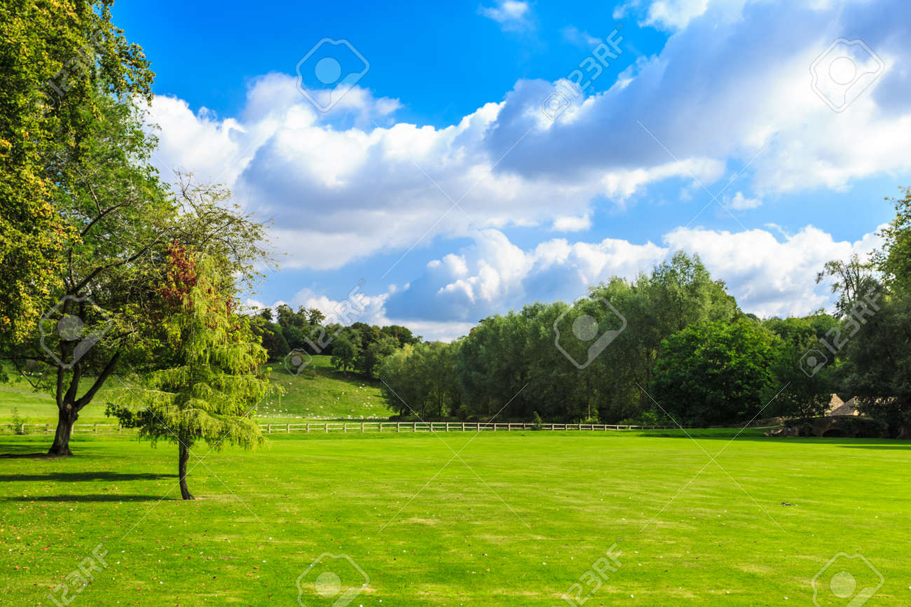 Beauty in nature summer landscape. Countryside view of green fields in England Stock Photo - 39255568