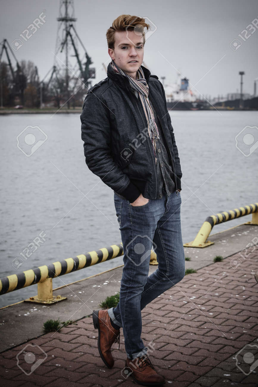 Full Length Young Handsome Man Fashion Model Casual Style On Street Urban Industrial Background Stock Photo