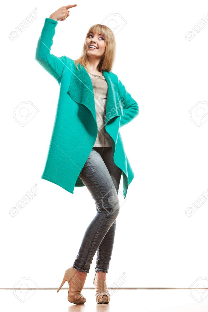 Pubblicità Blu Lunghezza Donna Verde E Moda Concetto Piena Cappotto pq1RRO