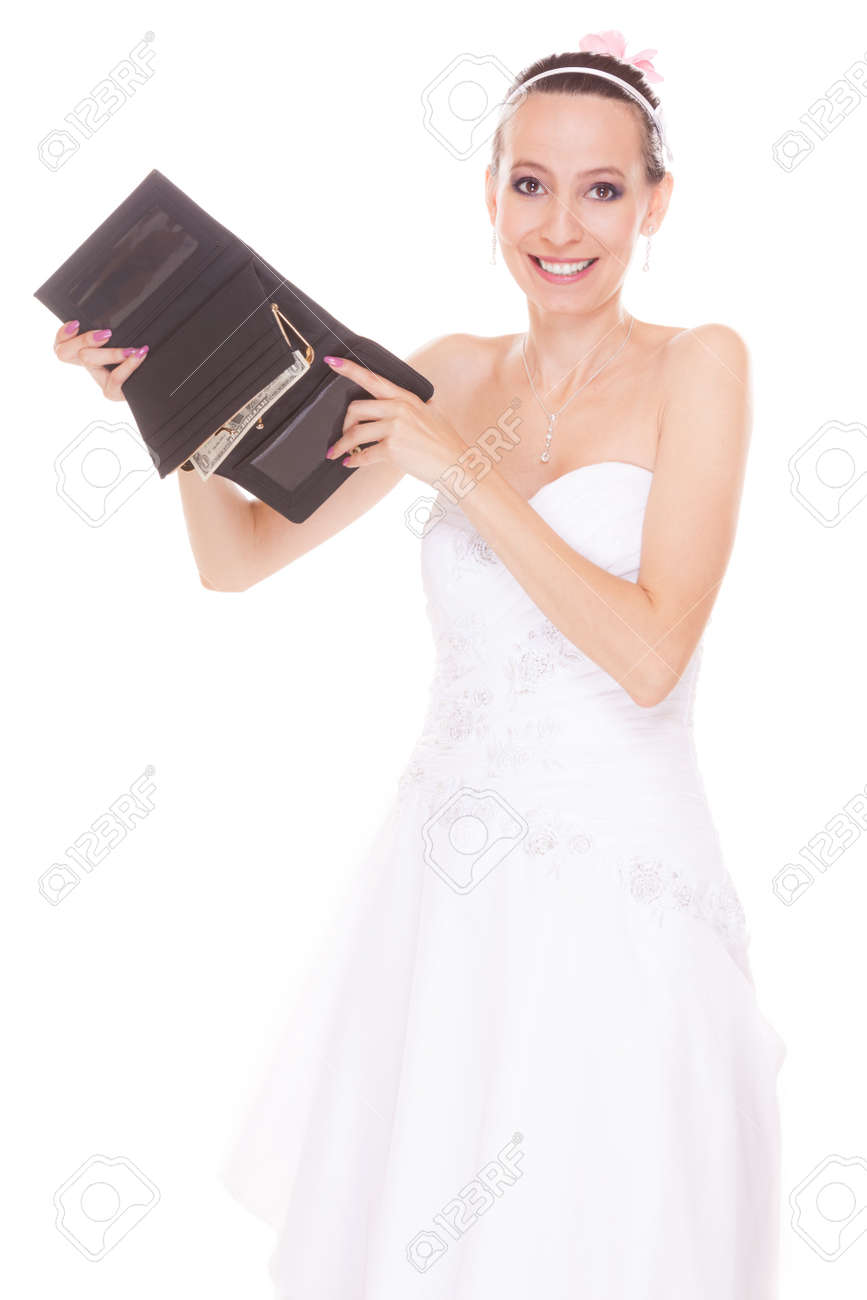 Bride With One Dollar And Wallet Young Girl Holding Purse And