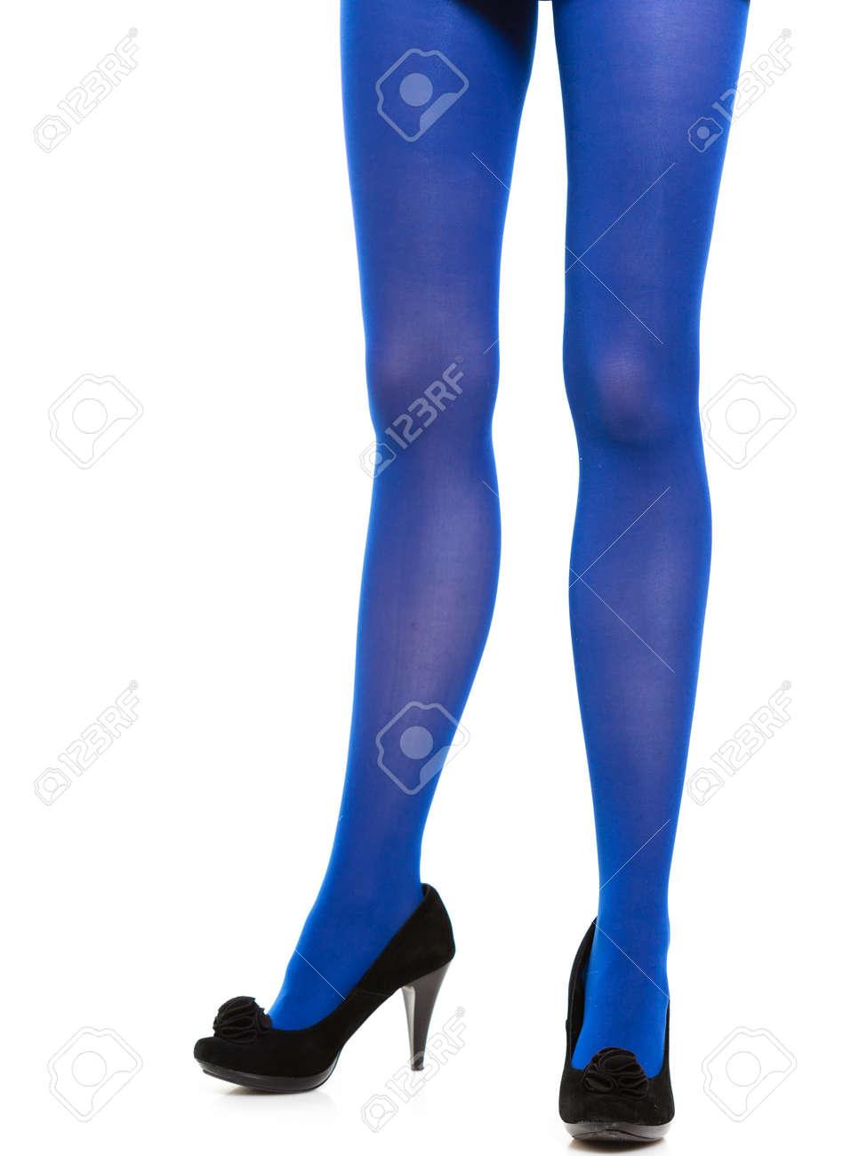 Largas Moda Zapatos Y Mujer Medias Femenina Piernas Con La Azules BXgfqq