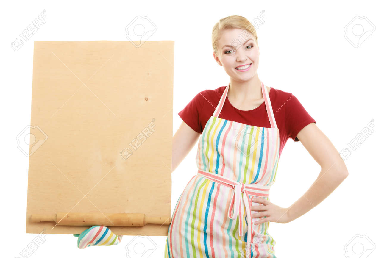 White apron menu - Stock Photo Housewife In Kitchen Apron Or Small Business Owner With Empty Blank Banner Sign For Restaurant Menu Recipe Girl Holding Wooden Board With