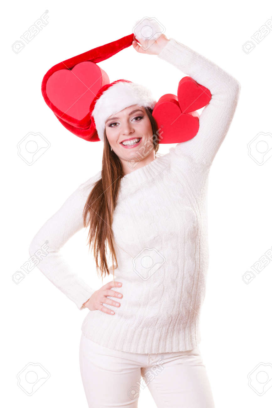 Helping Giving And Love Concept. Happy Smiling Woman In Santa ... e9f057fffc6
