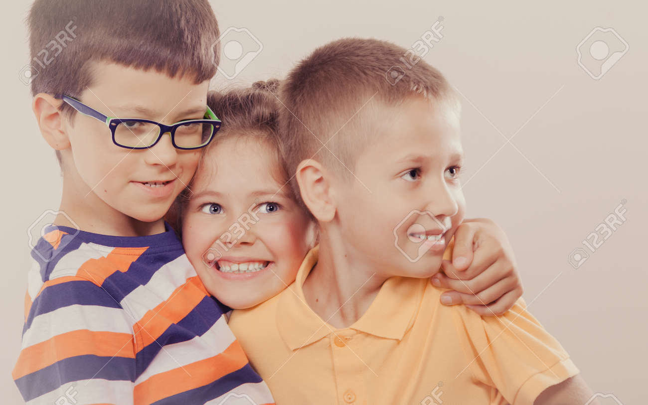 portrait of happy smiling sweet cute kids little girl and boys