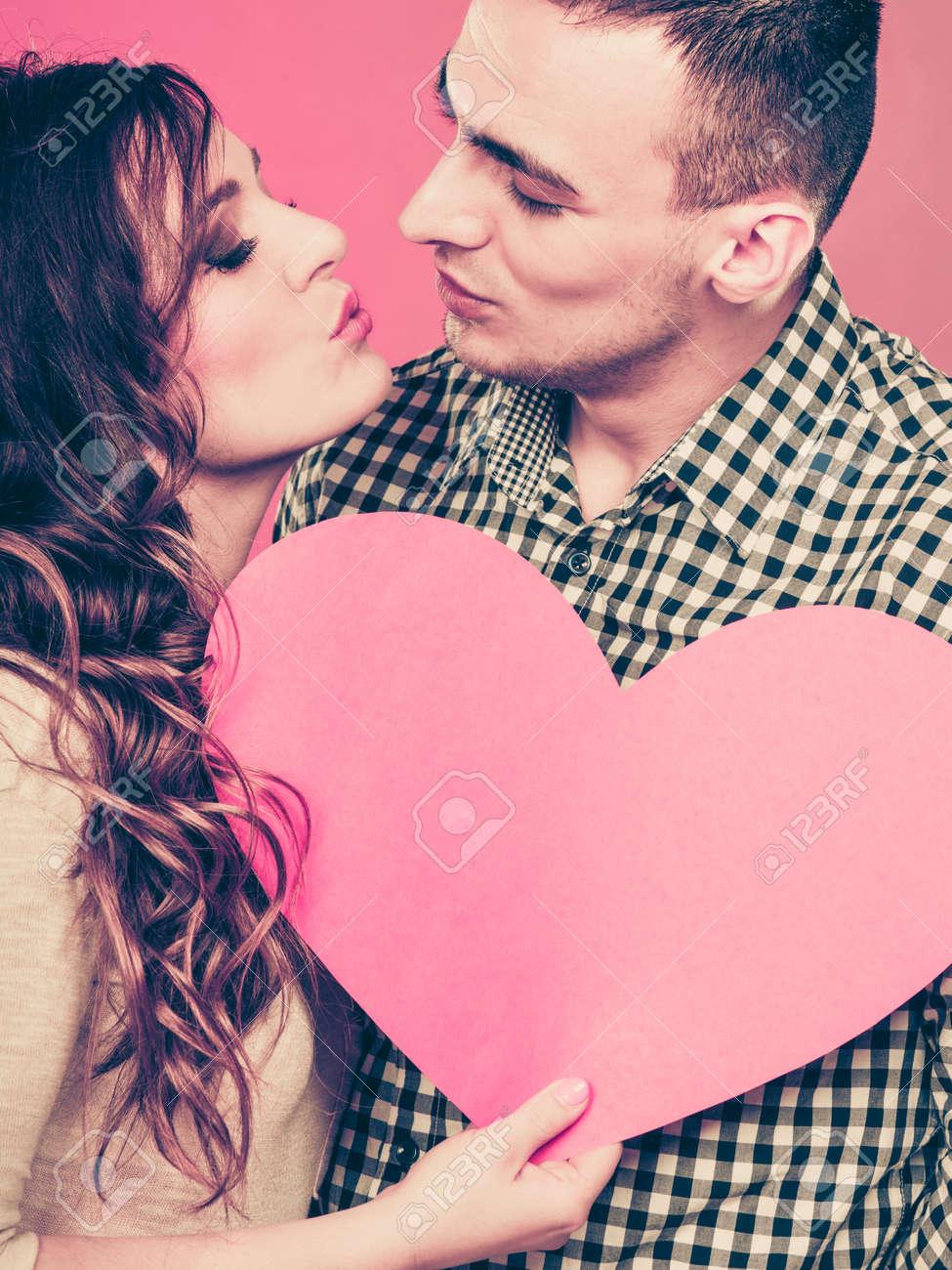 Romantic Couple Kissing On Valentines Day Happy Joyful Man And
