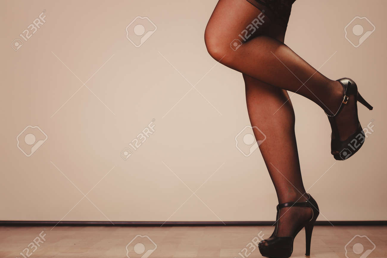 df0018998 Beauty and sexuality of women. Sexy part body woman model wearing black  stockings. Female
