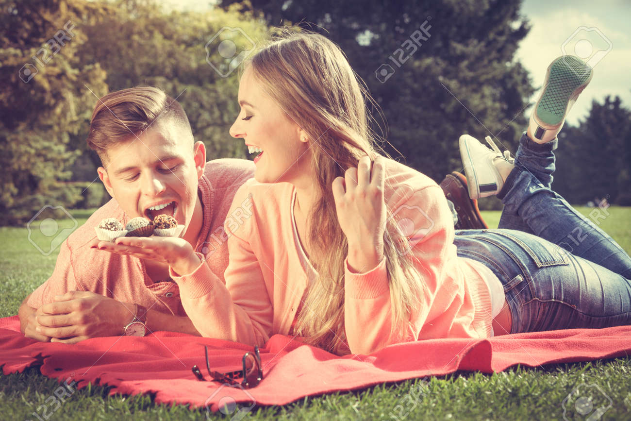 Love Food And Happiness Smiling Joyful Cute Couple On Picnic