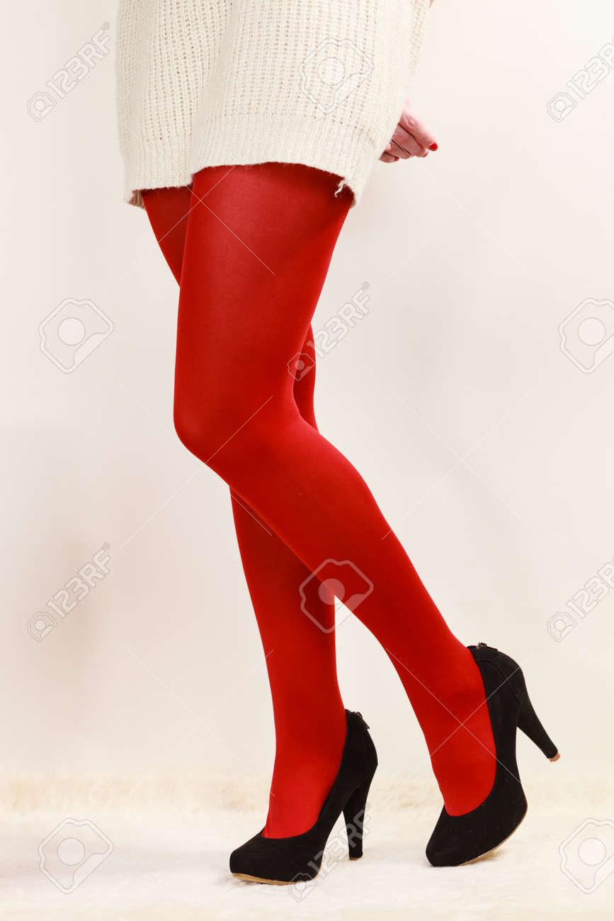 Noir ModeMode Sur Collants Couleur Jambes Fond Blanc Femme