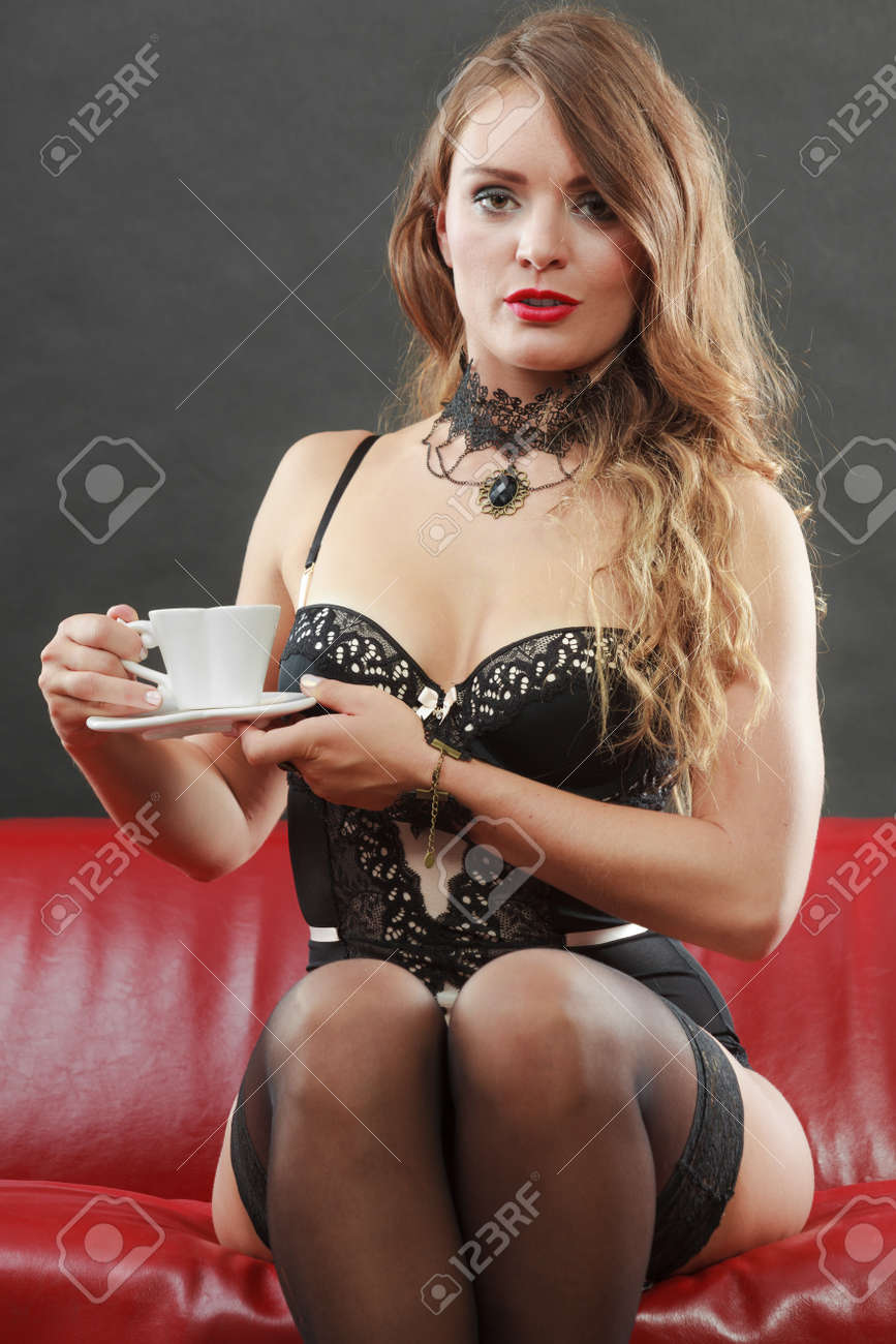 Fashion Erotic People Concept Nice Lady Sitting On The Couch Young Woman