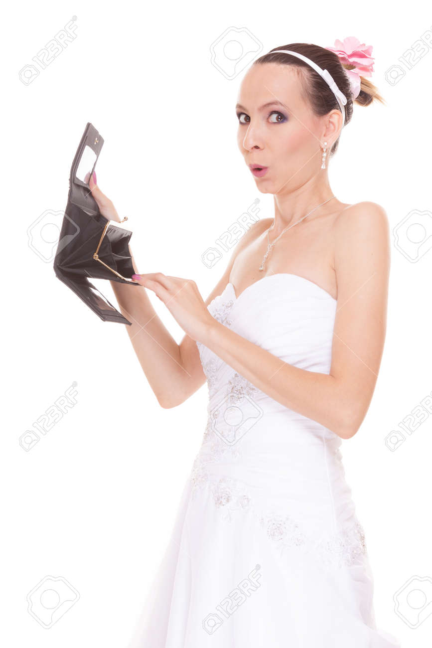 Bride With Empty Wallet Young Girl Holding Purse Looking For