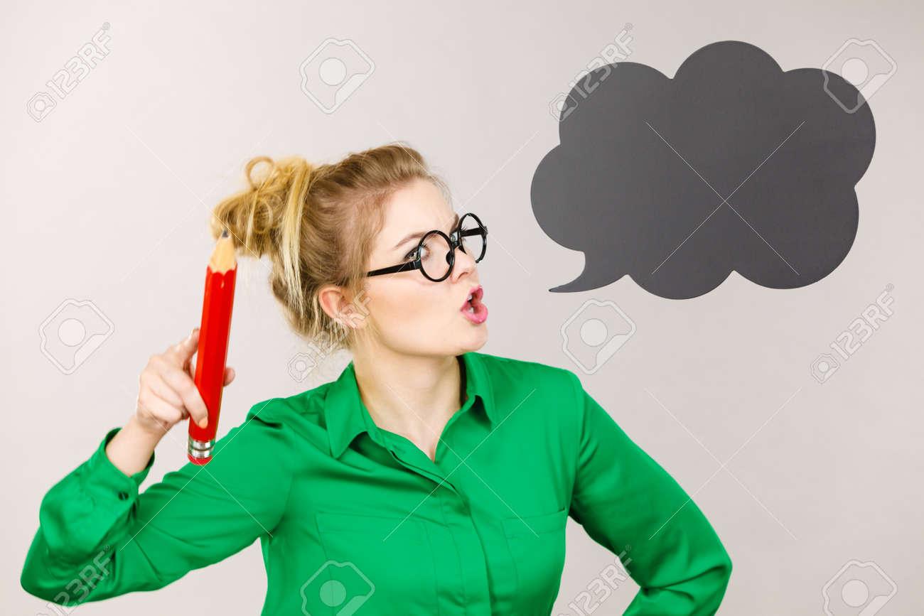 Angry Screaming Teacher Looking Elegant Woman Wearing Dark Tight