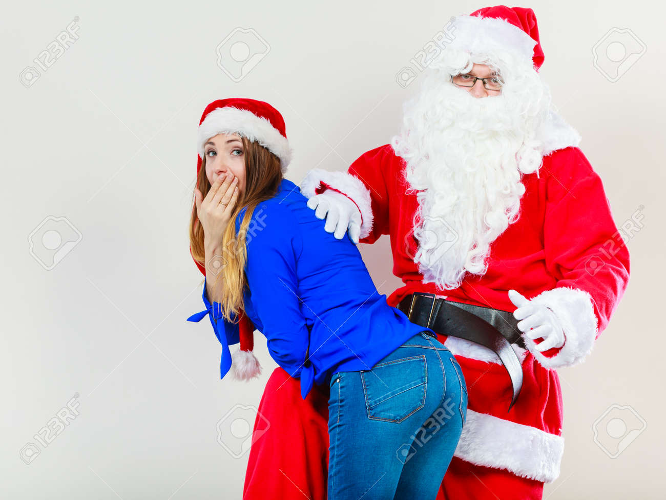 Christmas Holiday Concept Man Wearing Santa Claus Costume Spanking