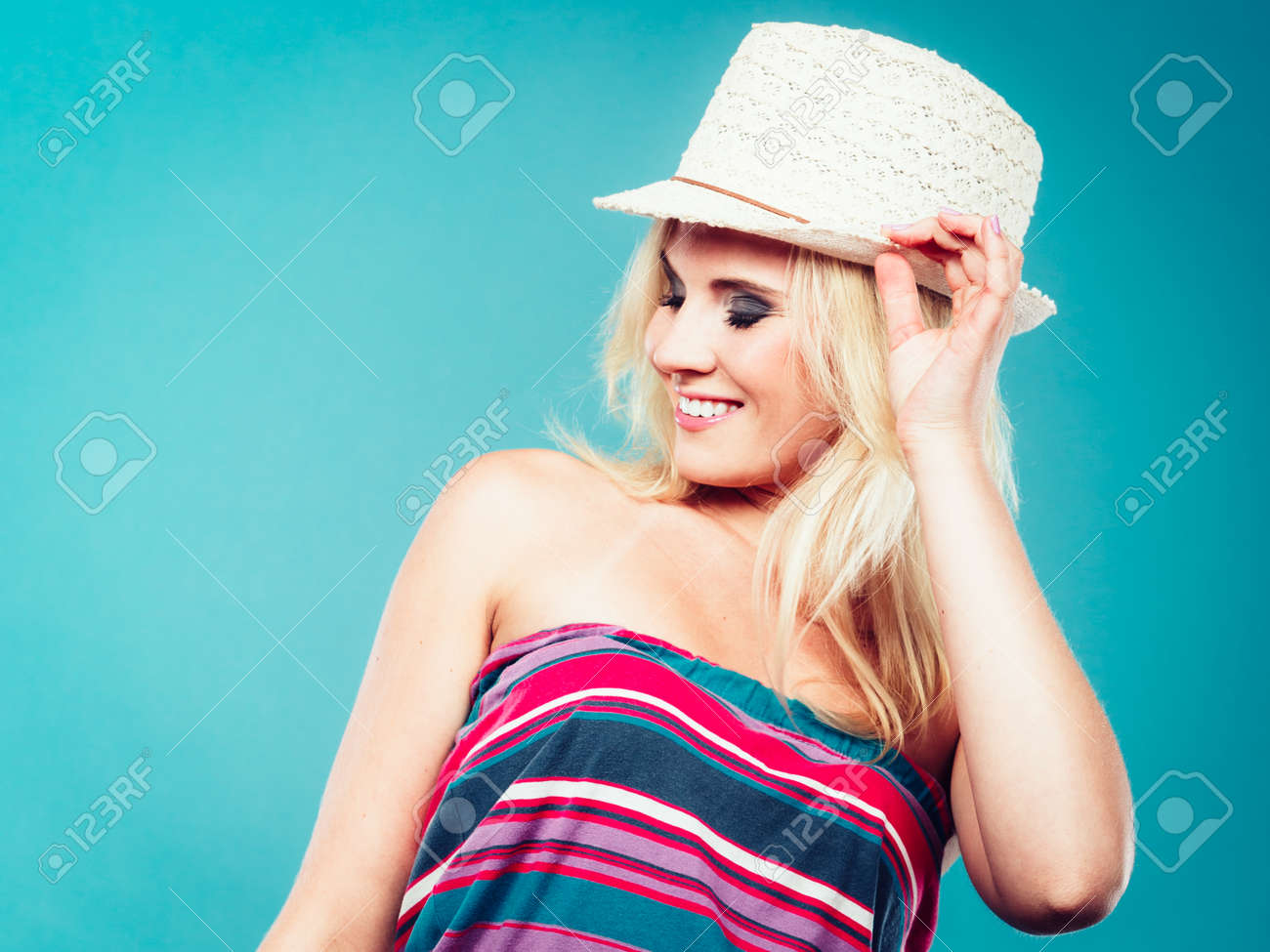 Summer Trendy Fashionable Outfit Ideas Concept Blonde Woman