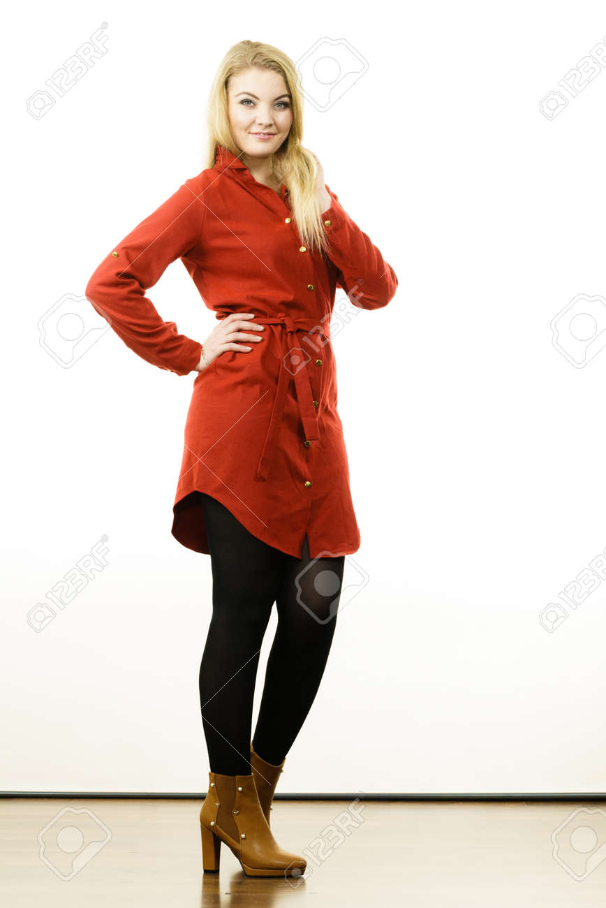 Fashionable Woman Wearing Long Red Vintage Dress Black Leggings Stock Photo Picture And Royalty Free Image Image 102187031