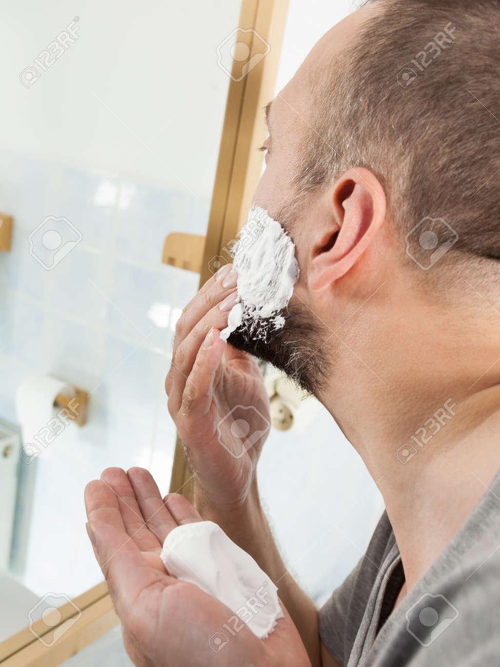 Astounding Man Preparing His Facial Hair Before Trimming His Beard Applying Schematic Wiring Diagrams Amerangerunnerswayorg