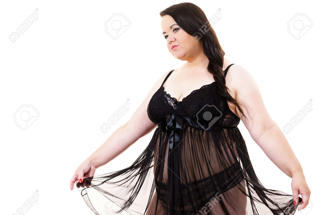 Plus size fat woman wearing black lace lingerie babydoll. Overweight oversized overeating chubby obese model in underwear clothing on white - 132272278