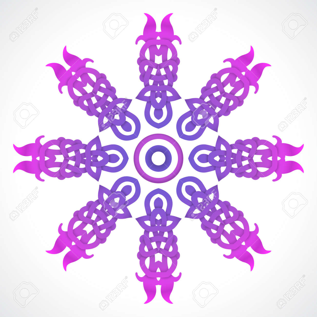 knotted violet round native ornament on white background Stock Vector - 21070958