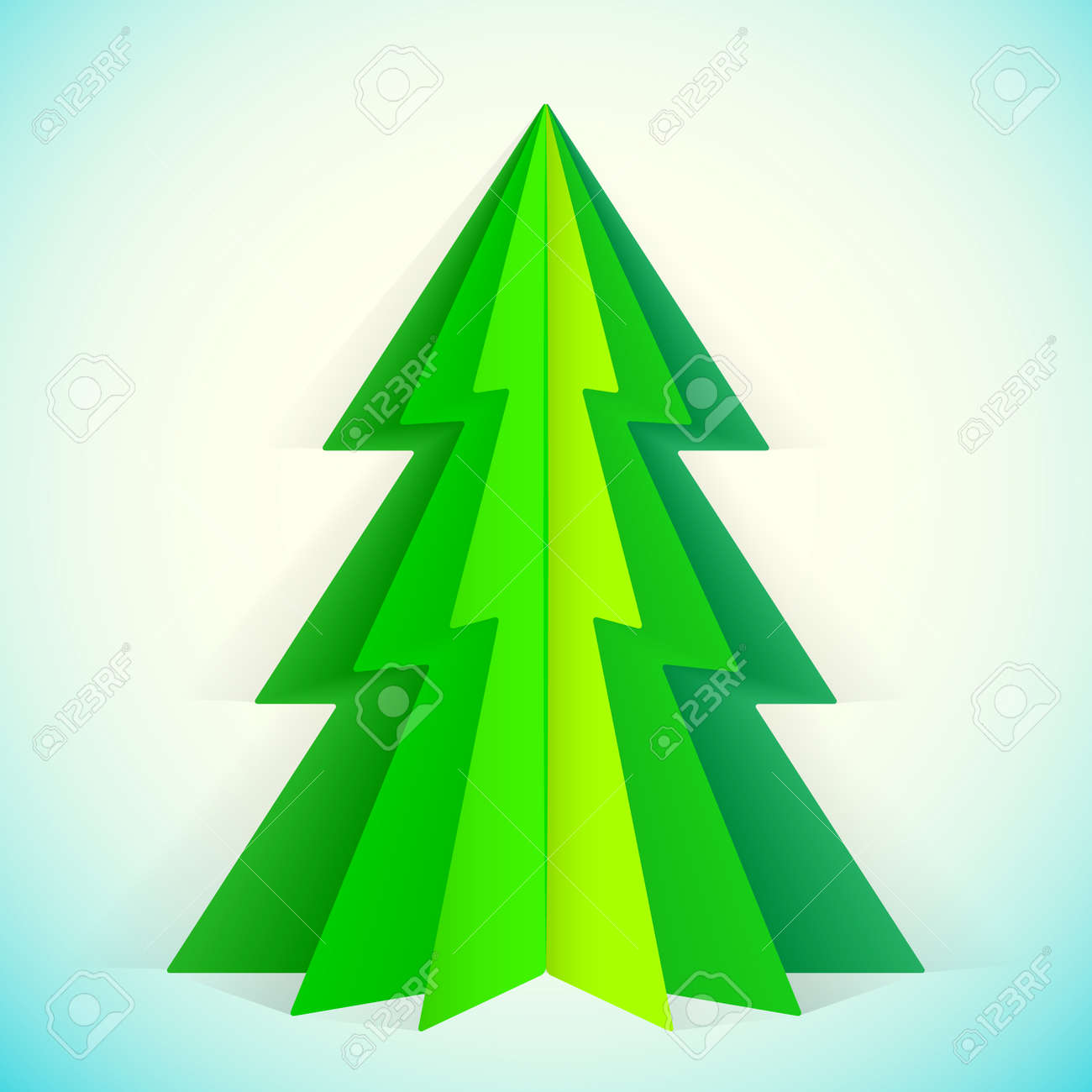 green paper christmas tree greeting card template royalty free