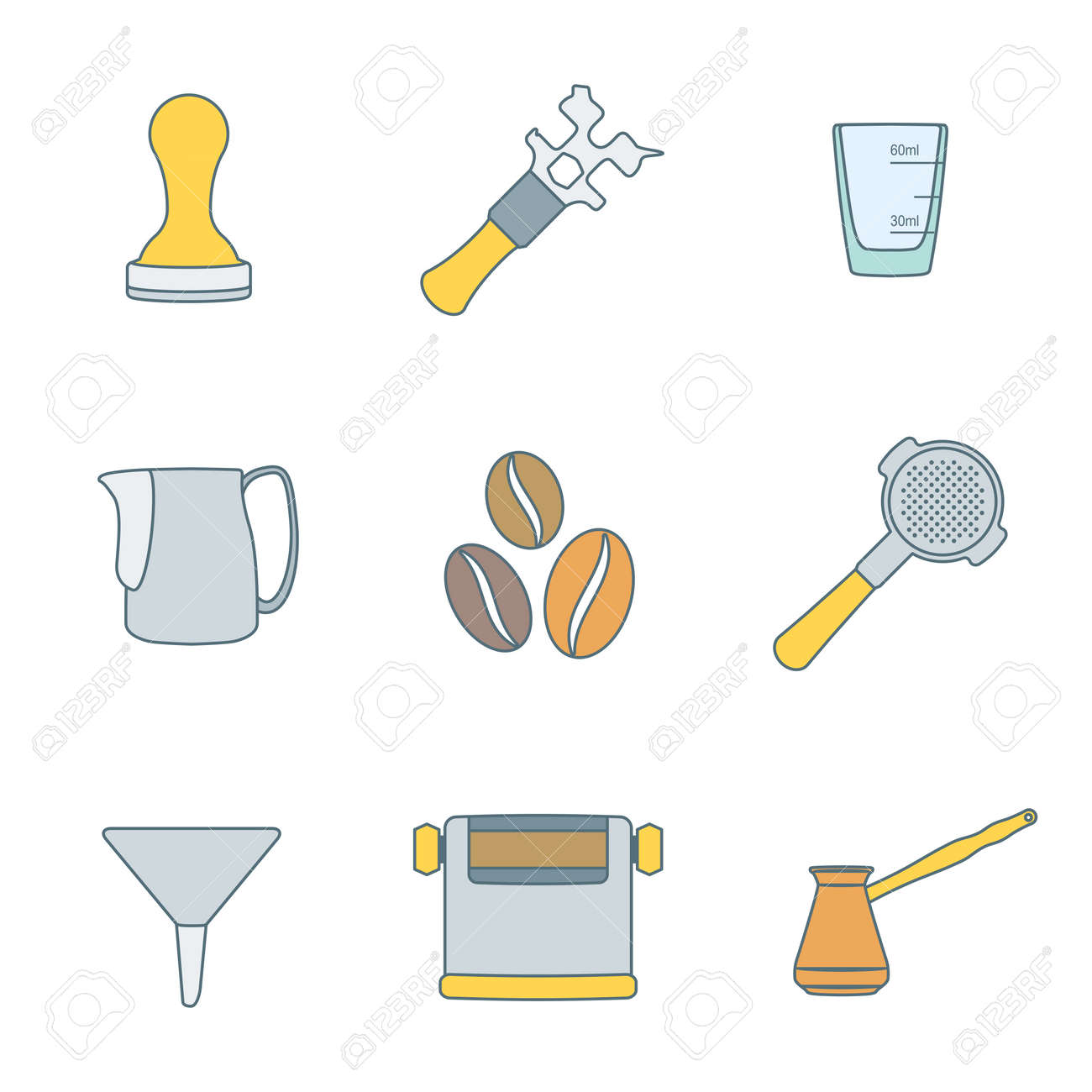 http://previews.123rf.com/images/al4k/al4k1412/al4k141200073/34919183-vector-colored-outline-coffee-barista-equipment-icons-set-tools-espresso-tamper-coffee-wrench-measur-Stock-Vector.jpg