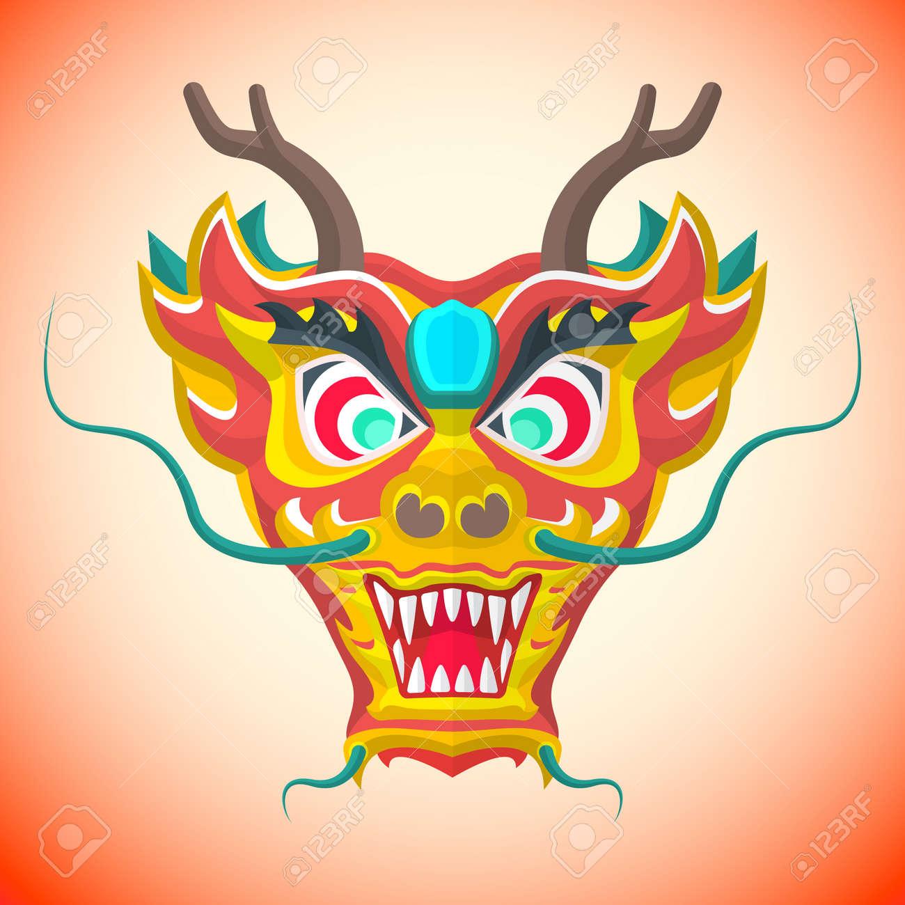 Vector De Diseño Plano El Año Nuevo Chino Dragón Rojo Máscara ...