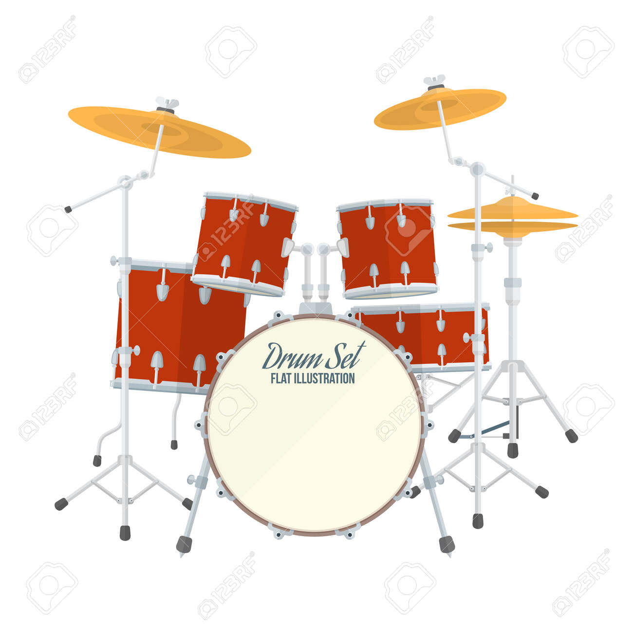 Color Flat Style Vector Drum Set On White Background Bass Tom Tom