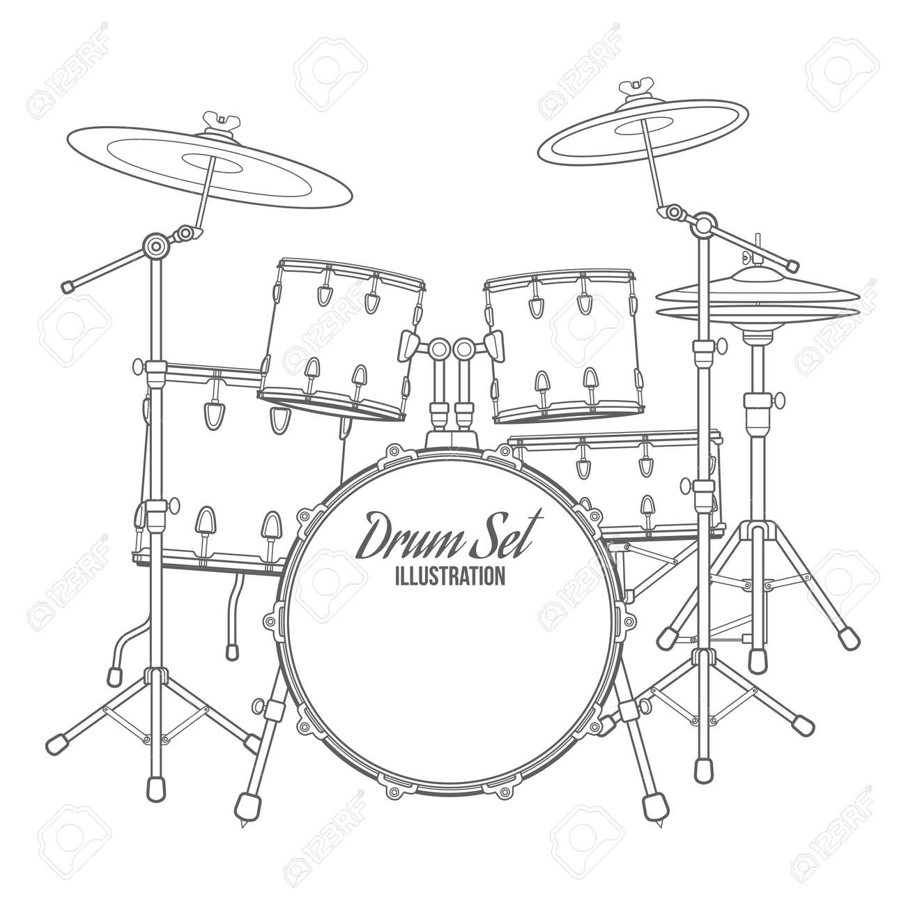 Vector Dark Outline Drum Set On White Background Bass Tom Ride Cymbal Crash Hi