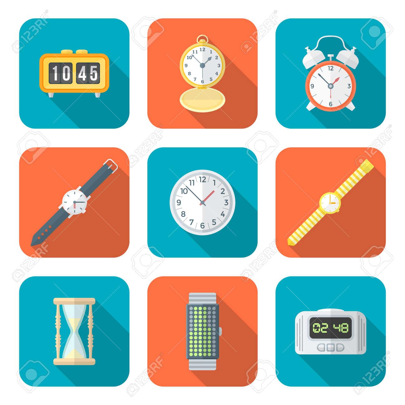 Vector De Color Diseño Plano Varios Tipos De Relojes Relojes Iconos