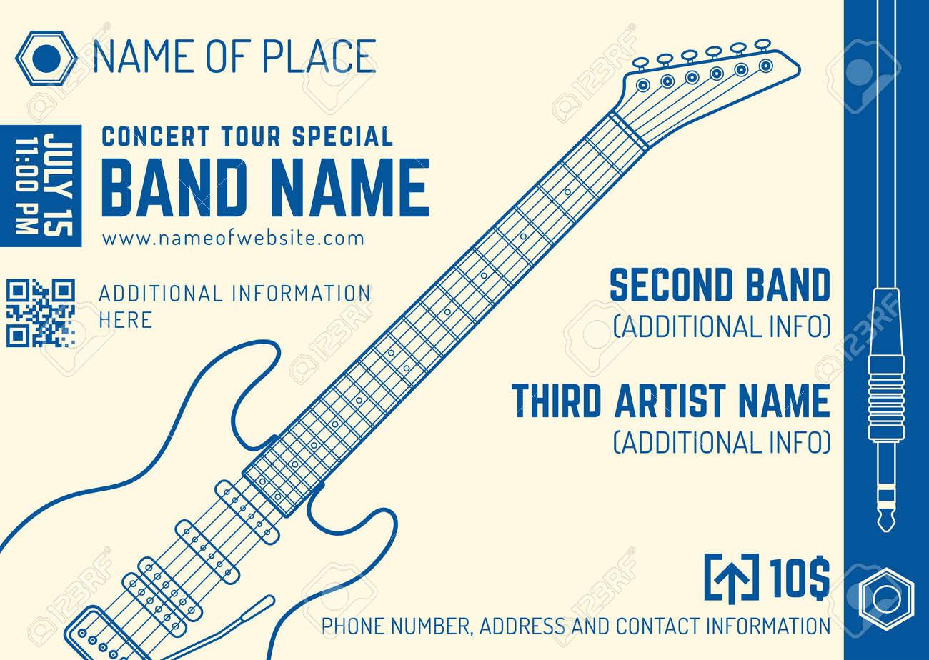 Vector Bright Cream Blue Rock Music Electro Guitar Flyer Template ...