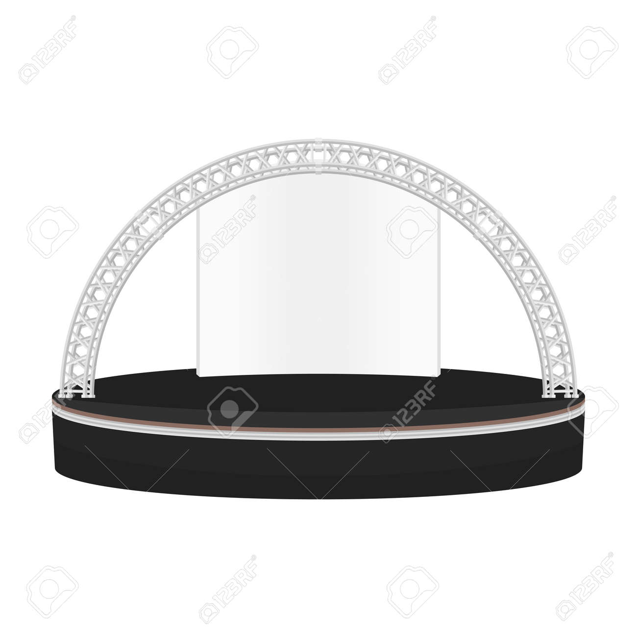 Empty outdoor rock stage - Outdoor Stage Vector Black Color Flat Design Estrade Rounded Stage Metal Truss With Empty White