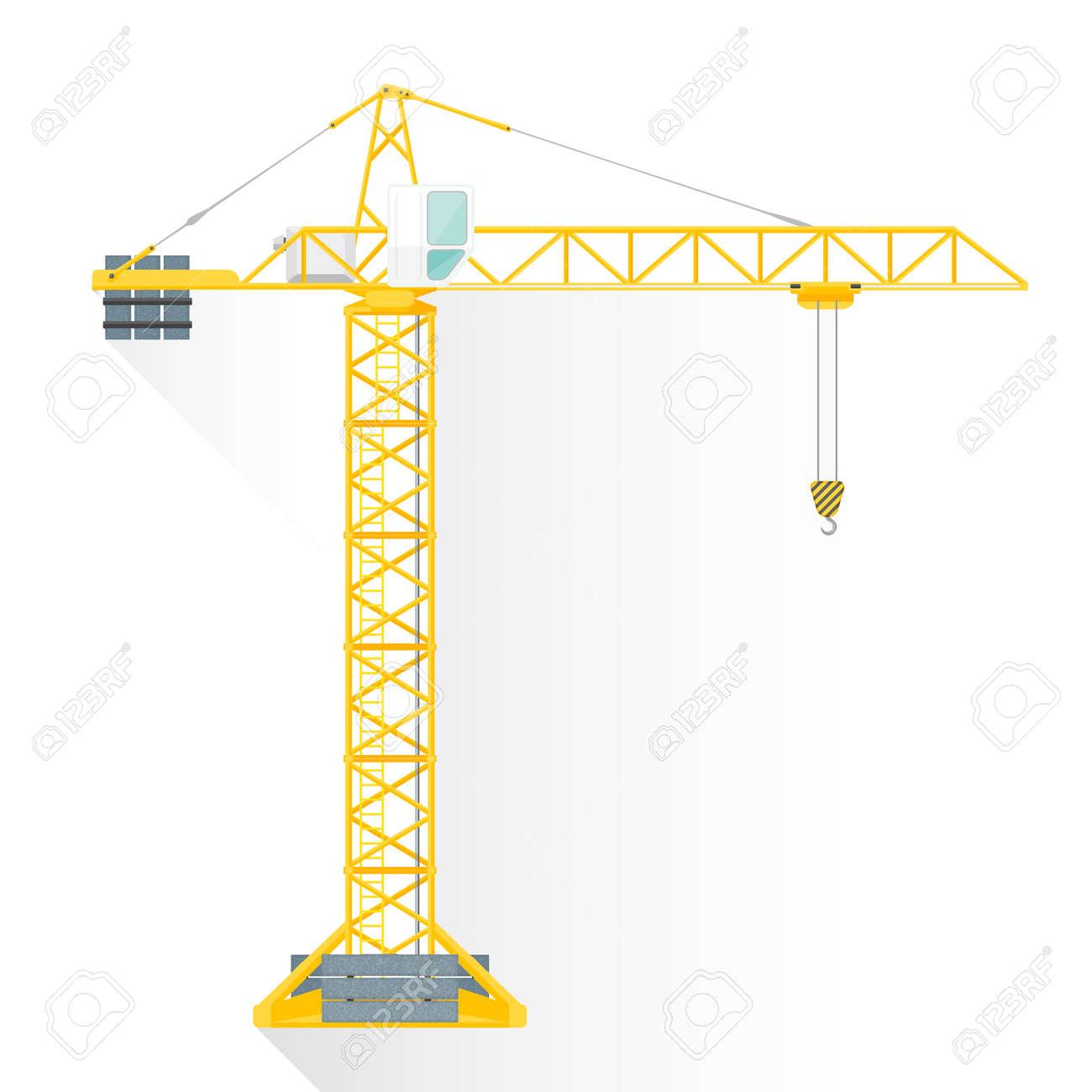 vector yellow color flat design construction tower crane white