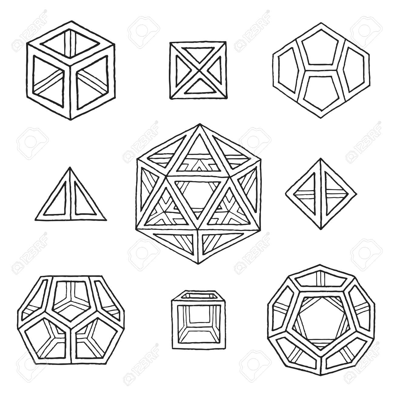 Vector Black Outline Hand Drawn Monochrome Platonic Solids