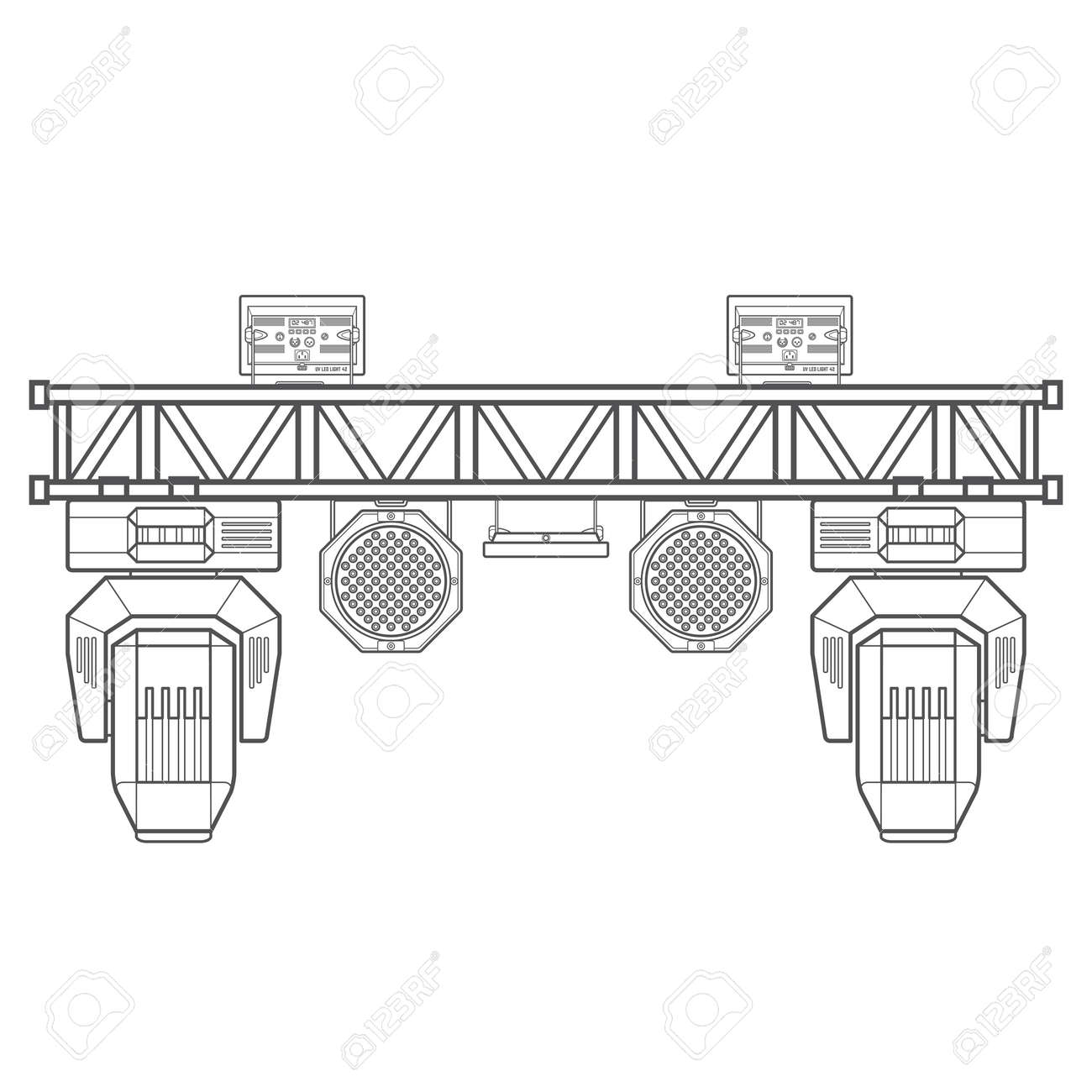 Vector Monochrome Contour Metal Frame Concert Stage Truss Lighting