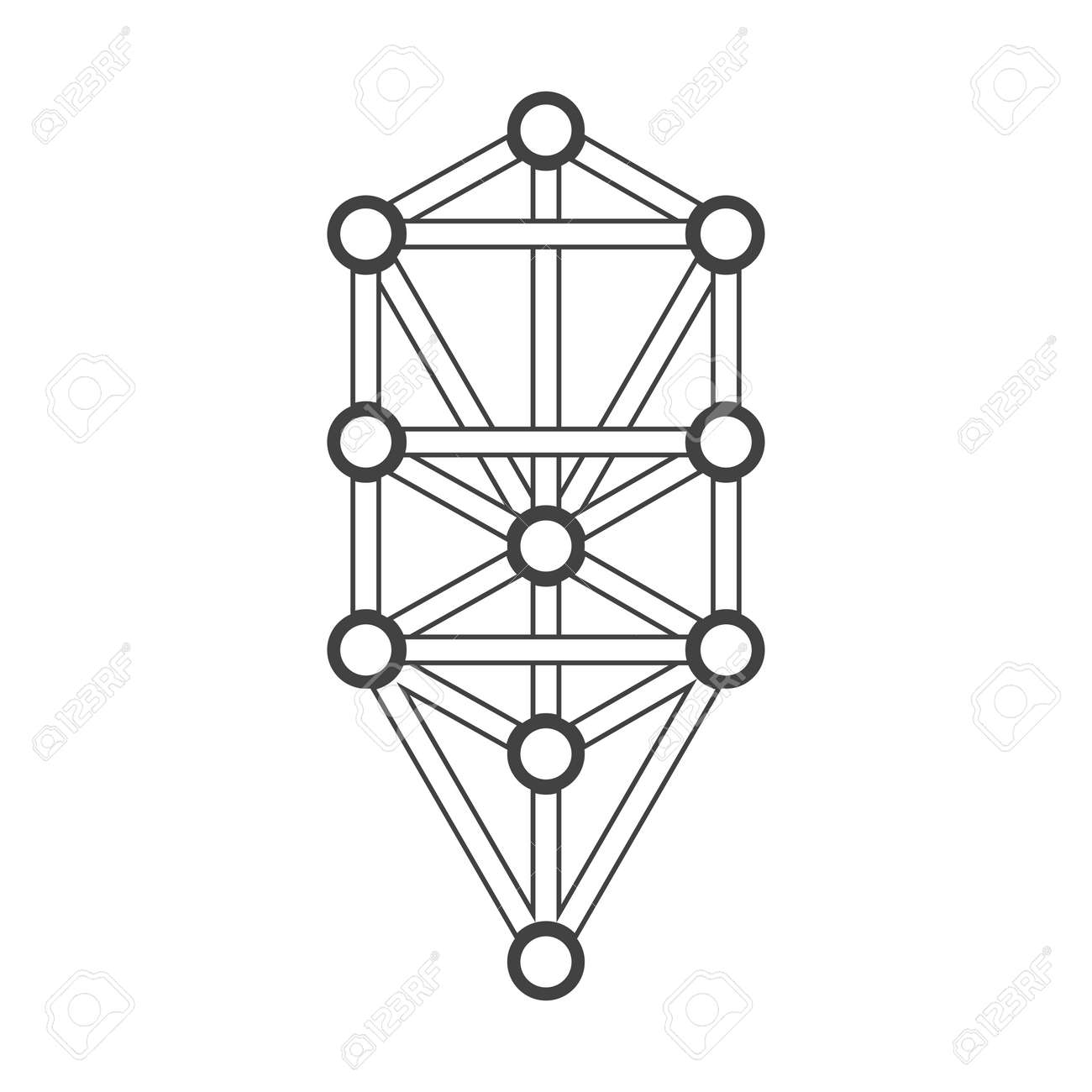 Vector Black Outline Tree Of Life Illustration Kabbalah Diagram ...