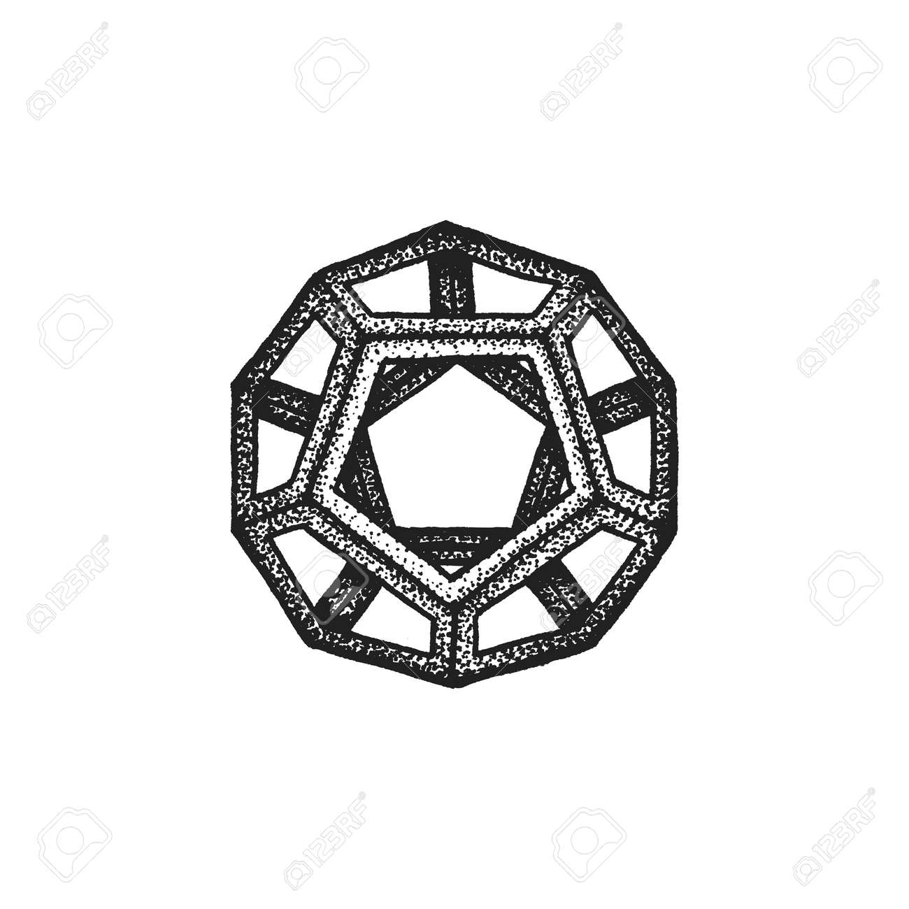 Vector vector black monochrome tattoo dotted art style decoration element geometric dodecahedron polyhedron illustration isolated white background