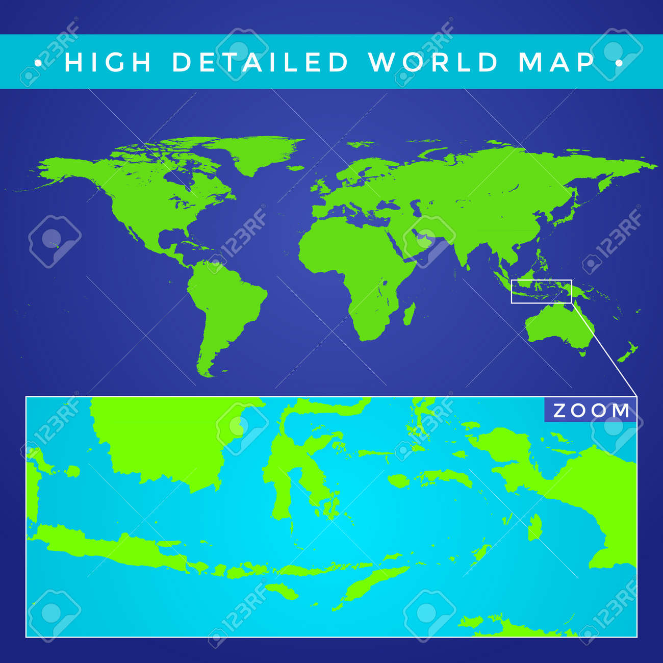 Vector flat style green color high detailed political world map vector flat style green color high detailed political world map illustration blue background stock vector gumiabroncs Gallery