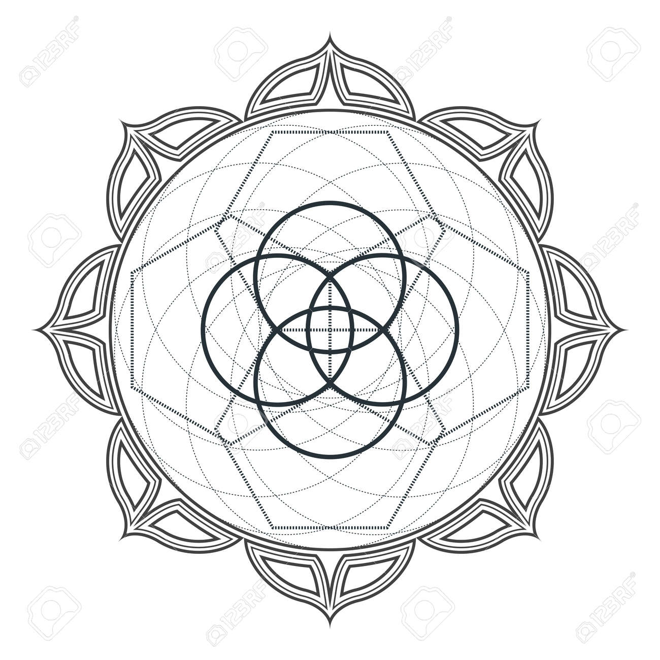 vector contour monochrome design mandala sacred geometry illustration