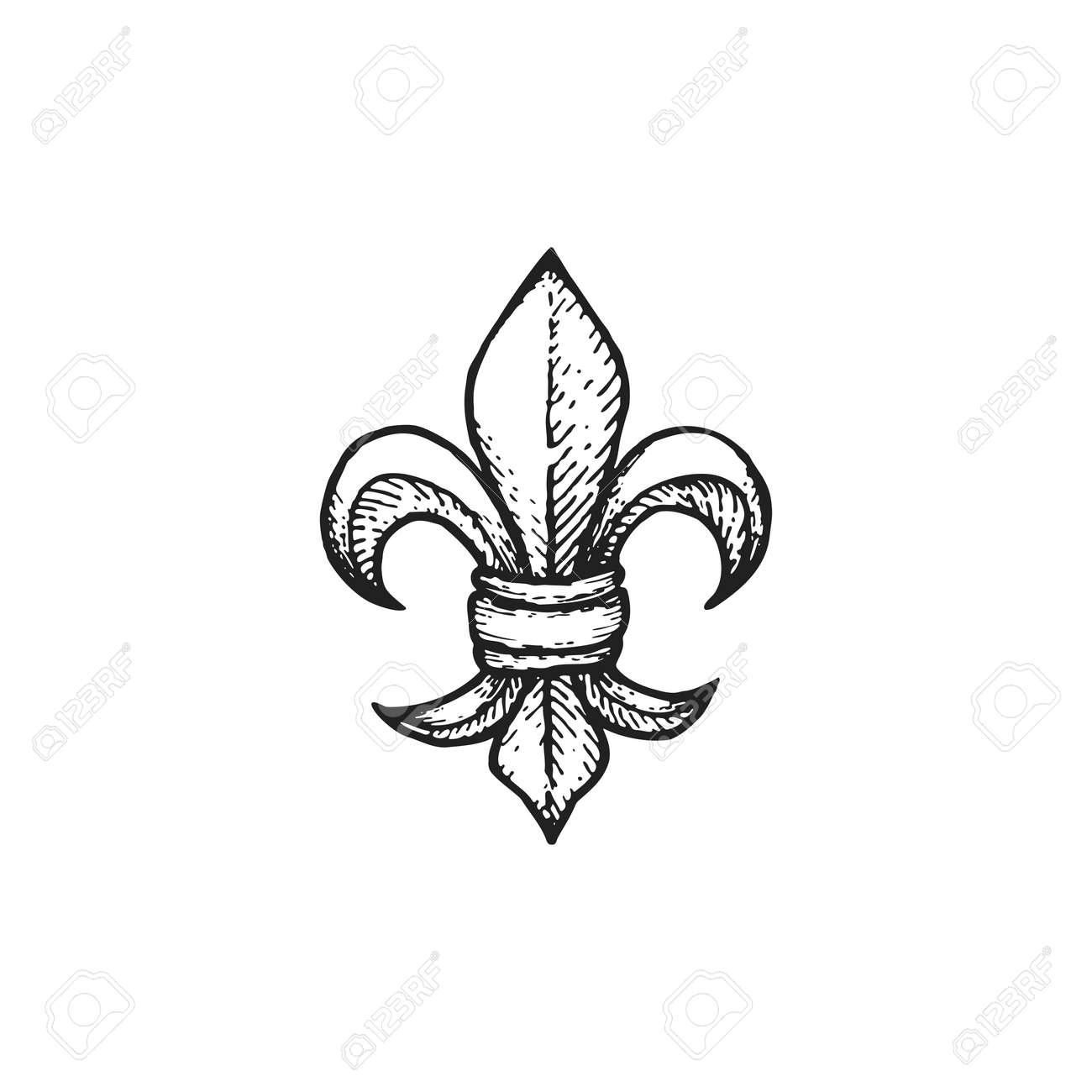 vector black work tattoo dot art hand drawn engraving fleur de rh 123rf com fleur de lys vector art fleur de lis vector free