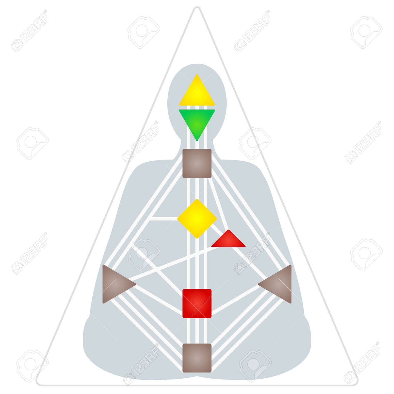 vector flat design colorful human design body graph energy centers rh 123rf com Cartoon Gate Cartoon Gate