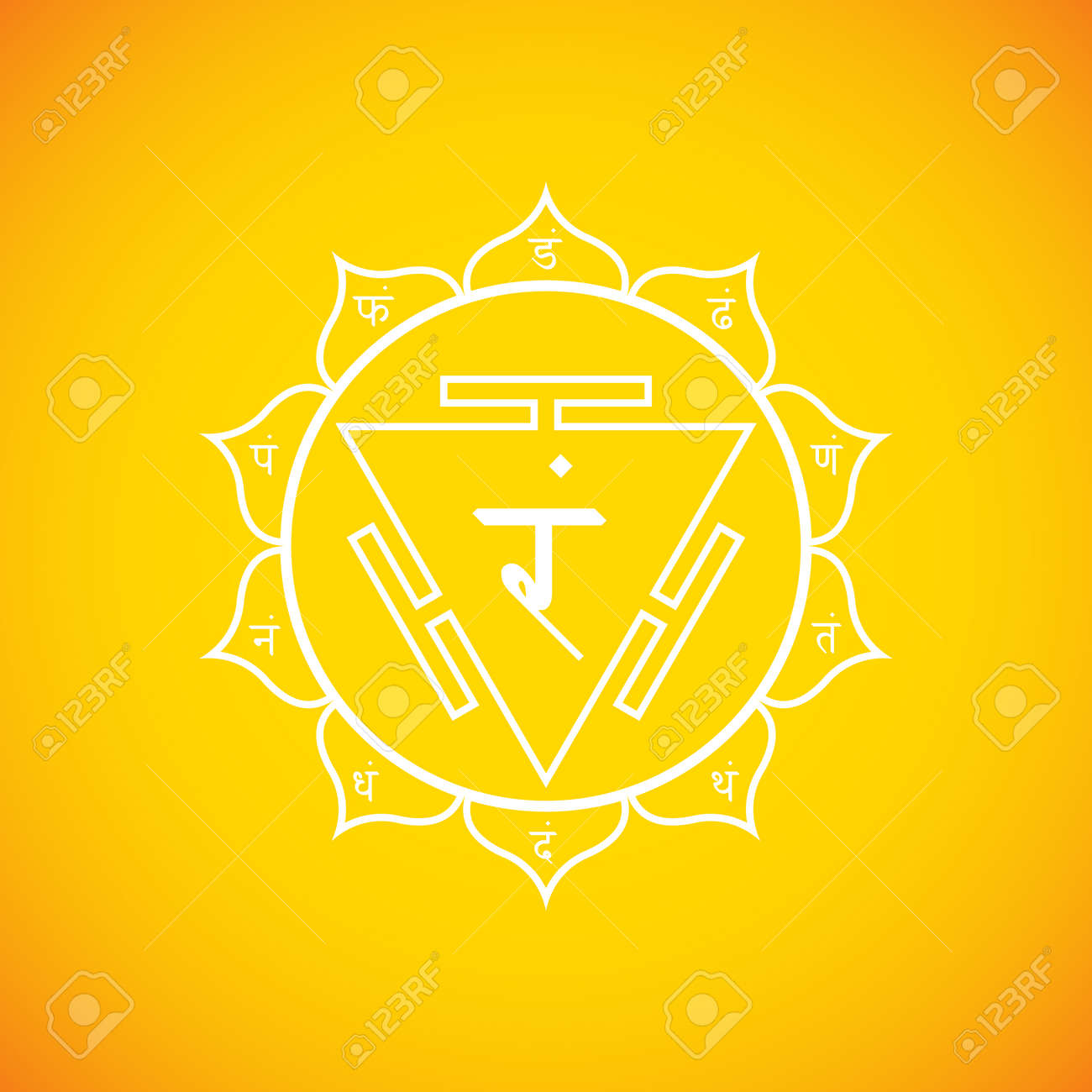 Vector third chakra manipura sanskrit city of jewels with hinduism vector third chakra manipura sanskrit city of jewels with hinduism seed mantra ram and syllables on lotus petals outline contour white monochrome symbol buycottarizona Image collections