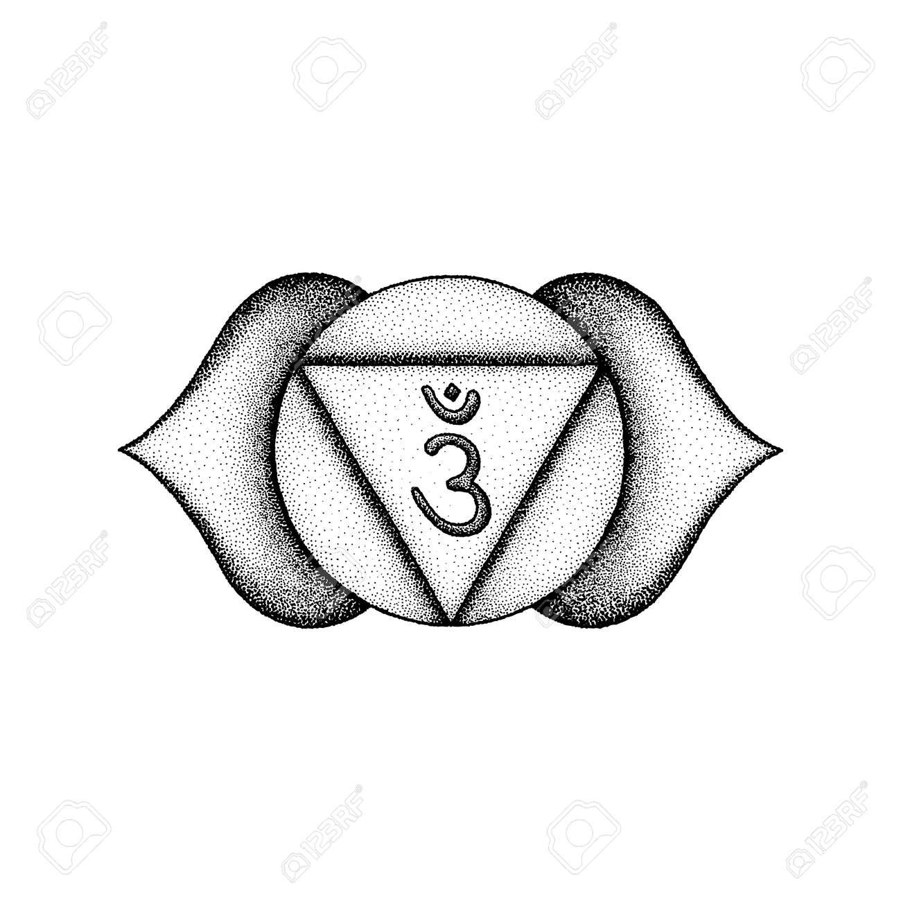 Vector Third Eye Ajna Sixth Chakra Sanskrit Seed Mantra Om Hinduism