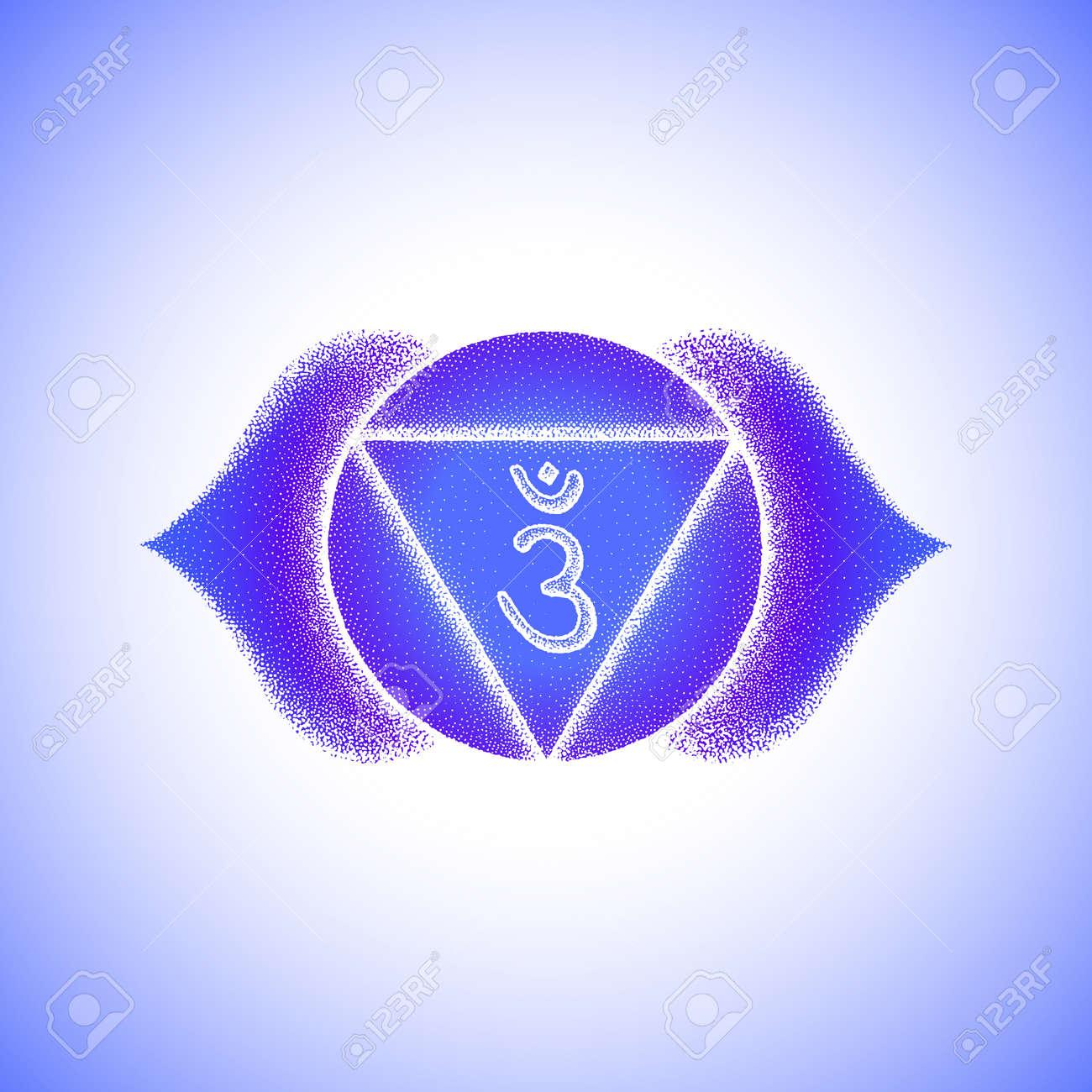 Vector third eye Ajna sixth chakra sanskrit seed mantra Hinduism