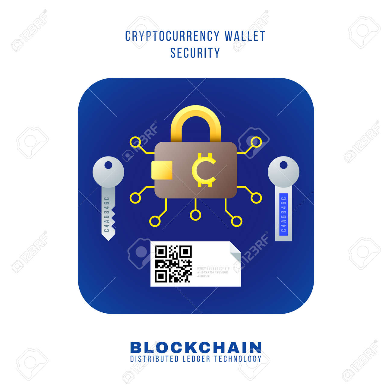 Vector Colorful Flat Design Blockchain Cryptocurrency Wallet
