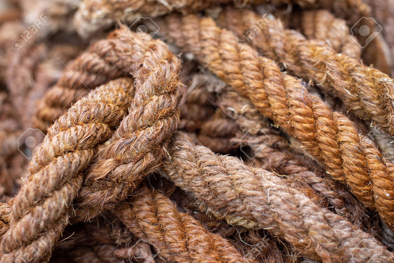 Closer Look At The Rough Texture Of A Twisted Hemp Rope Tied Stock Photo Picture And Royalty Free Image Image 139232715