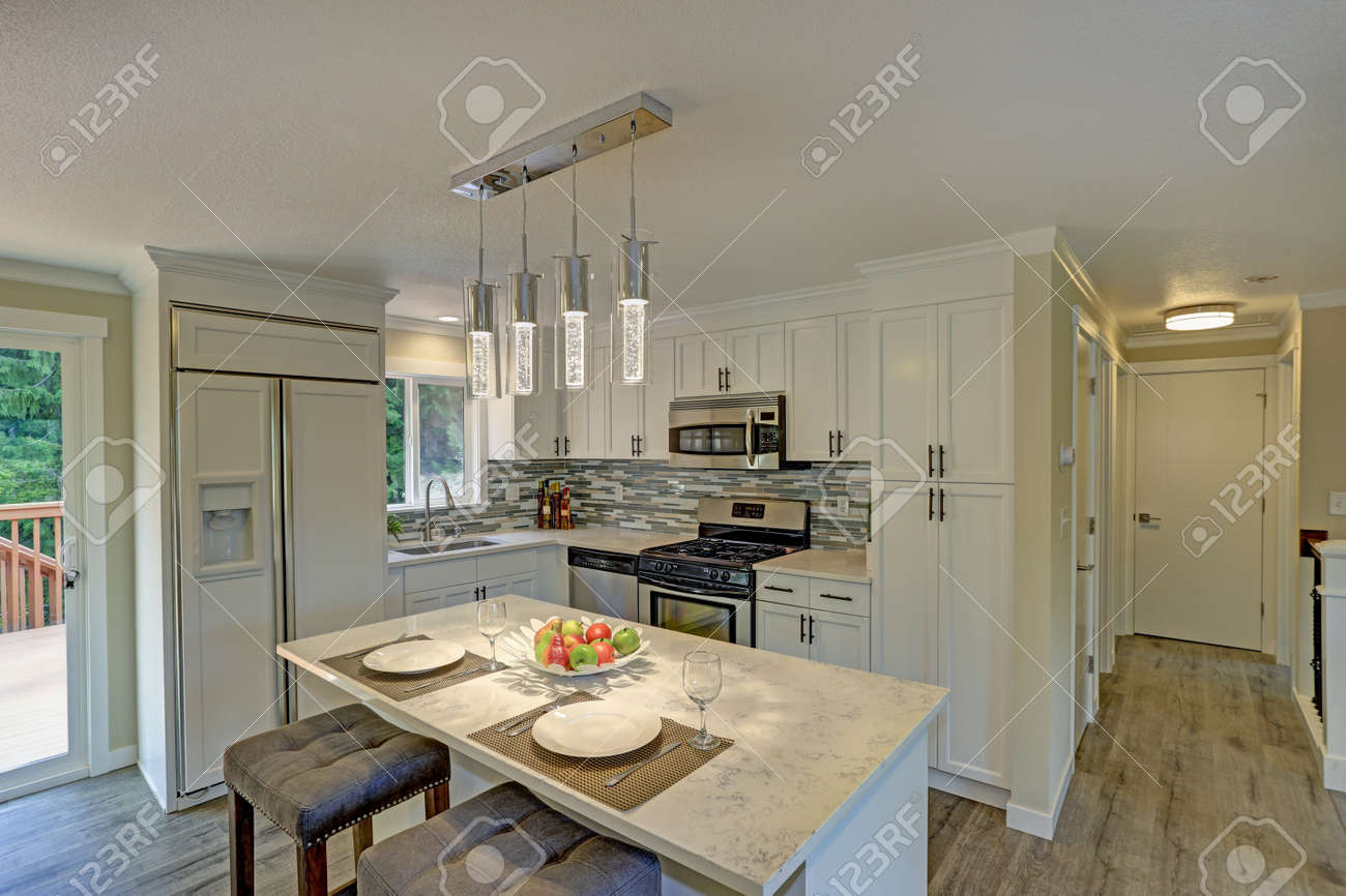 Beautiful Open Plan Second Floor White Kitchen With Traditional Stock Photo Picture And Royalty Free Image Image 86365349