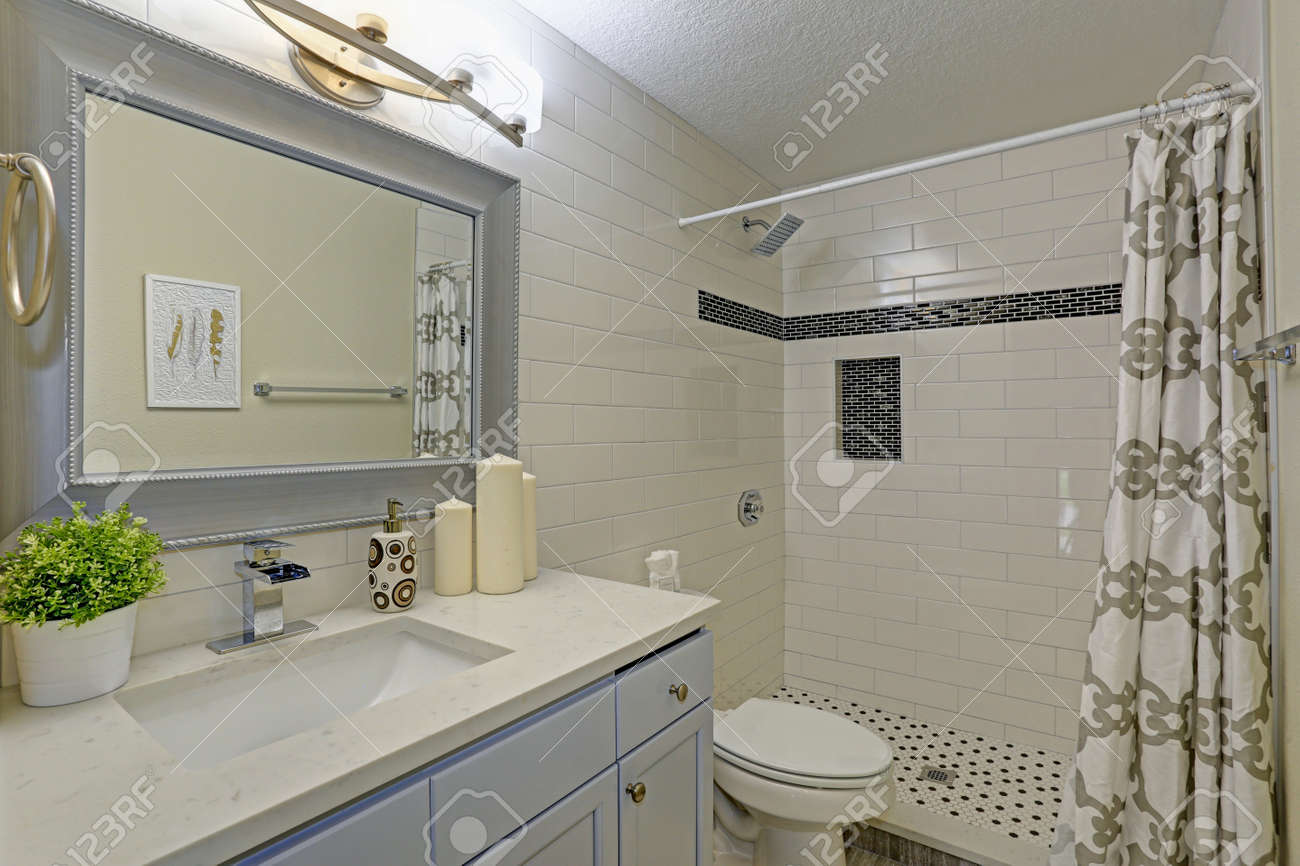 Freshly Renovated Bathroom Features Walk In Shower Accented With Stock Photo Picture And Royalty Free Image Image 87958679