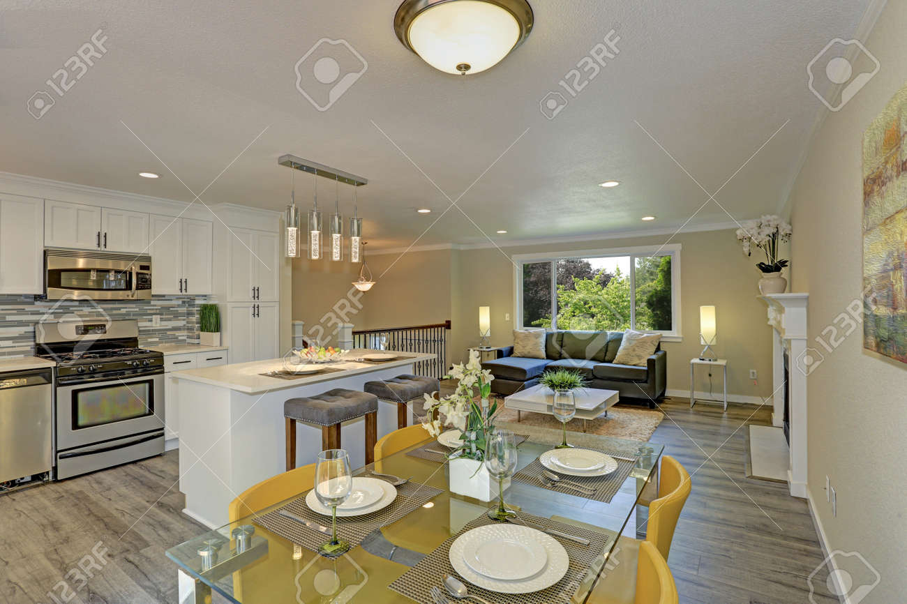 . Beautiful open plan second floor living room  kitchen and dining