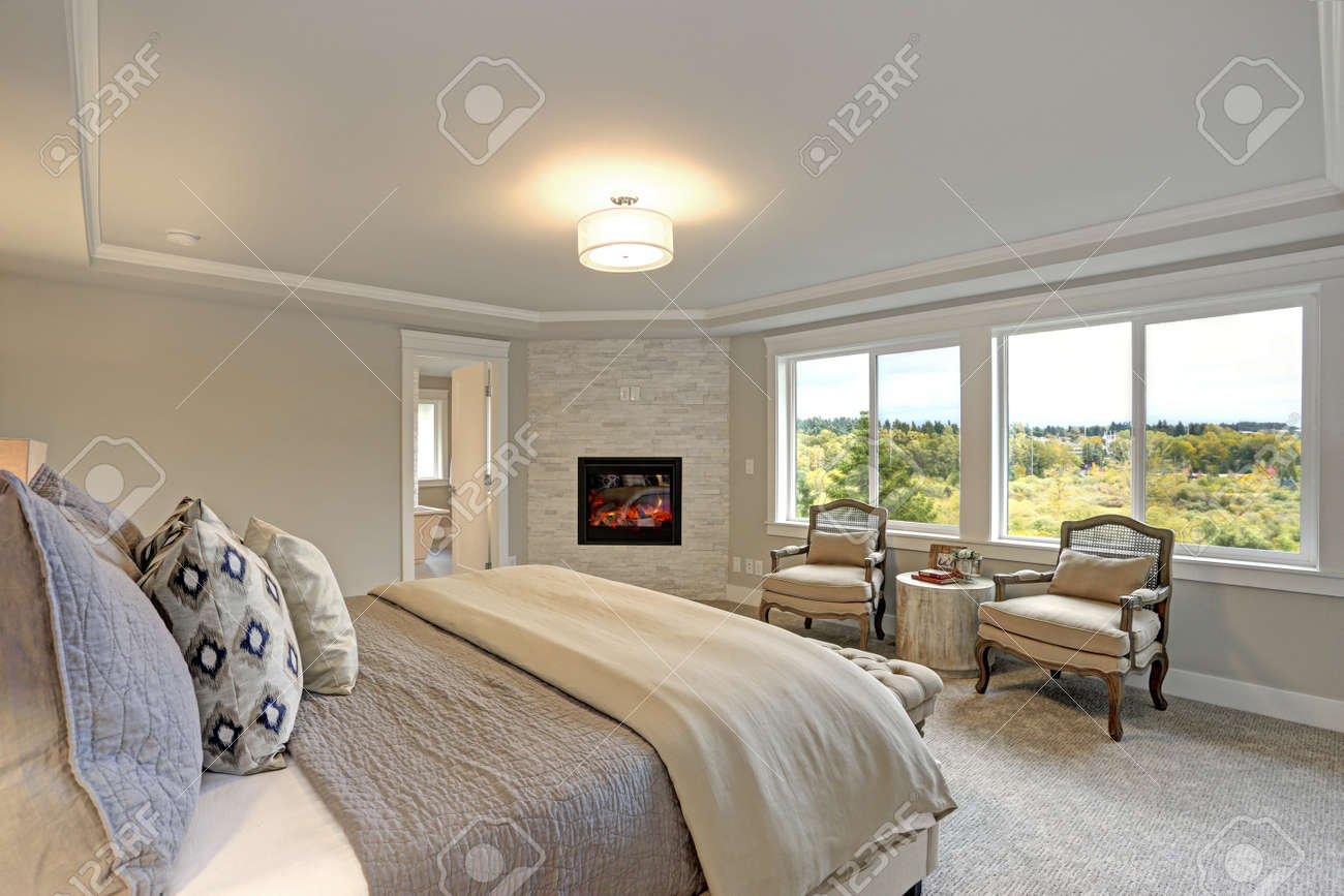 Prime Luxury Master Bedroom Interior With Large Bed Stone Fireplace Caraccident5 Cool Chair Designs And Ideas Caraccident5Info