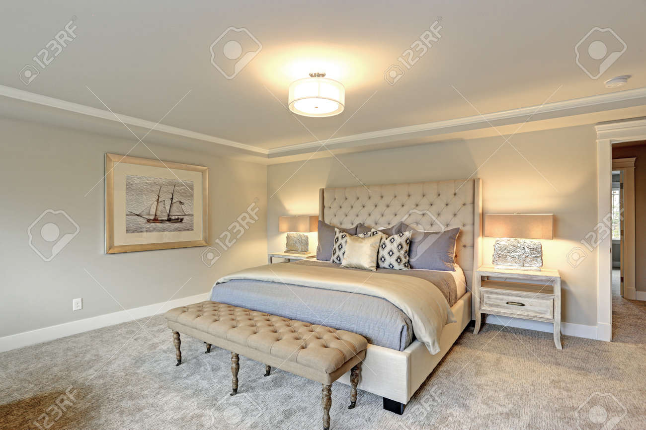 Luxury Master Bedroom Interior Furnished With Two Nightstands Stock Photo Picture And Royalty Free Image Image 89473796