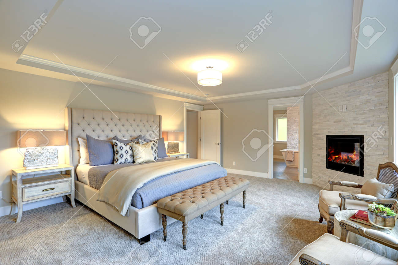 Luxury Master Bedroom Interior Furnished With Two Nightstands Stock Photo Picture And Royalty Free Image Image 89473803